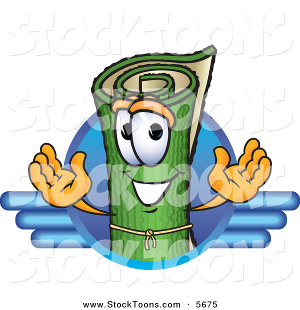 Stock Cartoon of a Grinning Green Carpet Mascot Cartoon Character Logo with Blue Lines