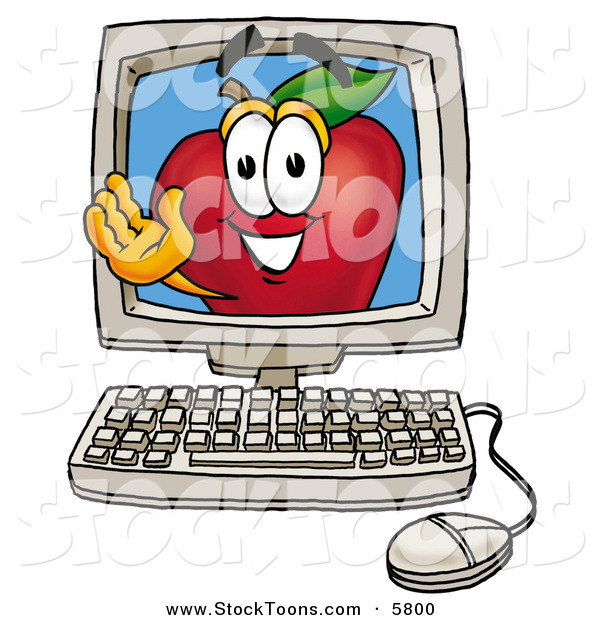 Stock Cartoon of a Grinning Happy Red Apple Character Mascot on a Desktop Computer Screen