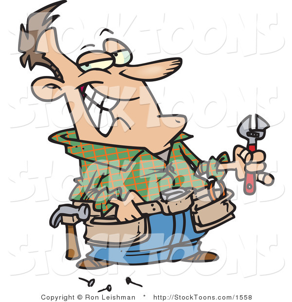 Stock Cartoon of a Handy Man Holding Tools