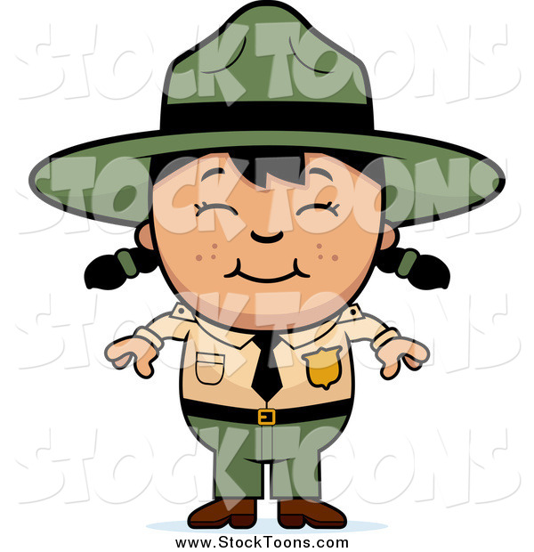 Stock Cartoon of a Happy Asian Forest Ranger Girl Smiling