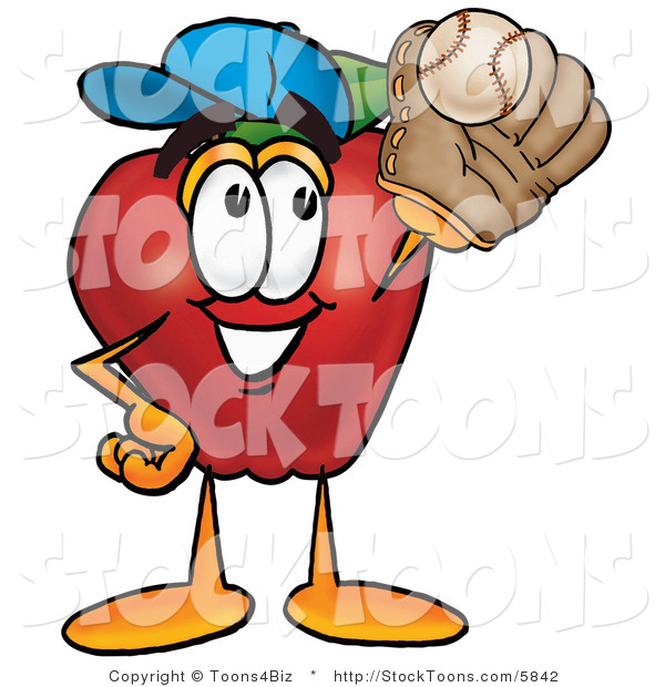 Stock Cartoon of a Happy Athletic Red Apple Character Mascot Catching a Baseball with a Glove