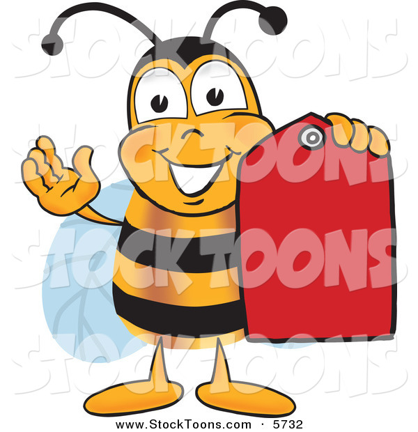 Stock Cartoon of a Happy Bee Mascot Cartoon Character Holding a Red Clearance Sales Tag