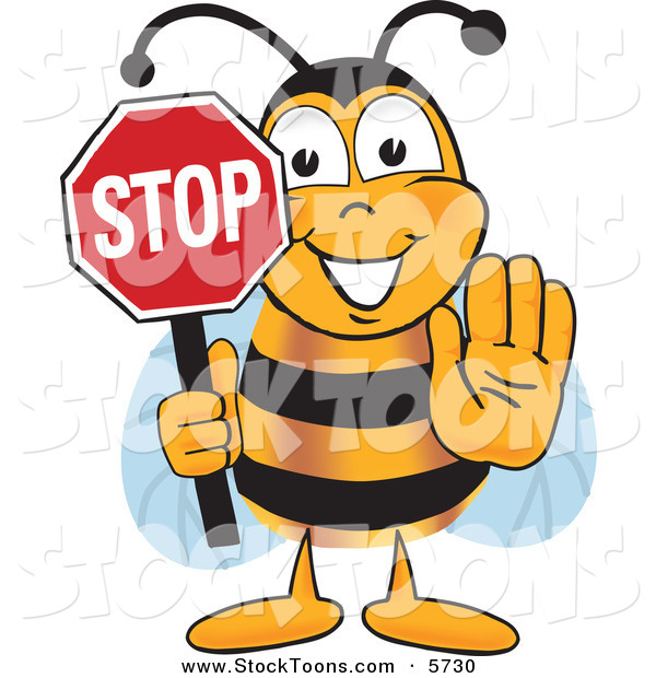 Stock Cartoon of a Happy Bee Mascot Cartoon Character Holding His Hand out and a Red Stop Sign