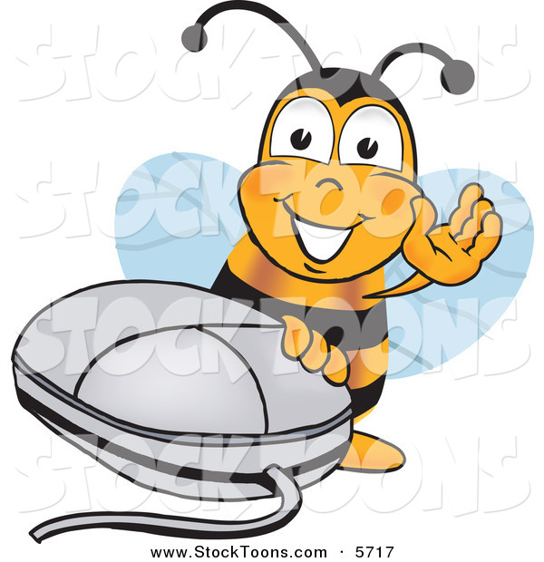 Stock Cartoon of a Happy Bee Mascot Cartoon Character with a Computer Mouse