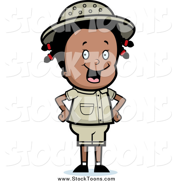 Stock Cartoon of a Happy Black Safari Girl Smiling and Standing with Her Hands on Her Hips