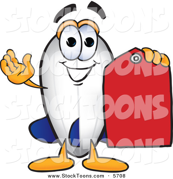 Stock Cartoon of a Happy Blimp Mascot Cartoon Character Holding a Red Clearance Price Tag