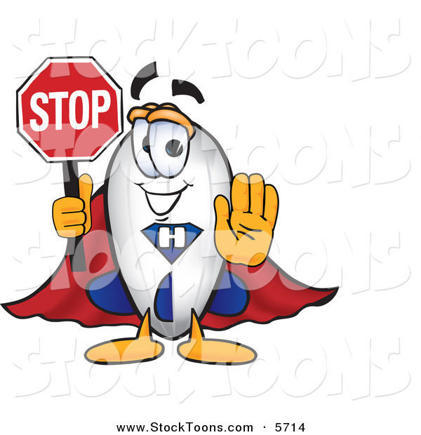 Stock Cartoon of a Happy Blimp Mascot Cartoon Character Holding a Stop Sign with His Arm out in Front