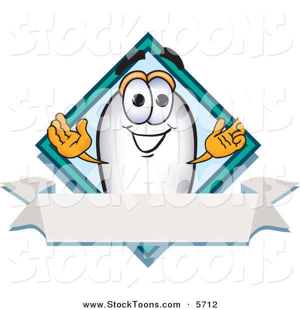Stock Cartoon of a Happy Blimp Mascot Cartoon Character with a Blank Ribbon Label