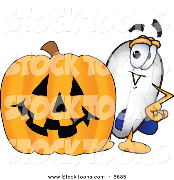 Stock Cartoon of a Happy Blimp Mascot Cartoon Character with a Carved Halloween Pumpkin