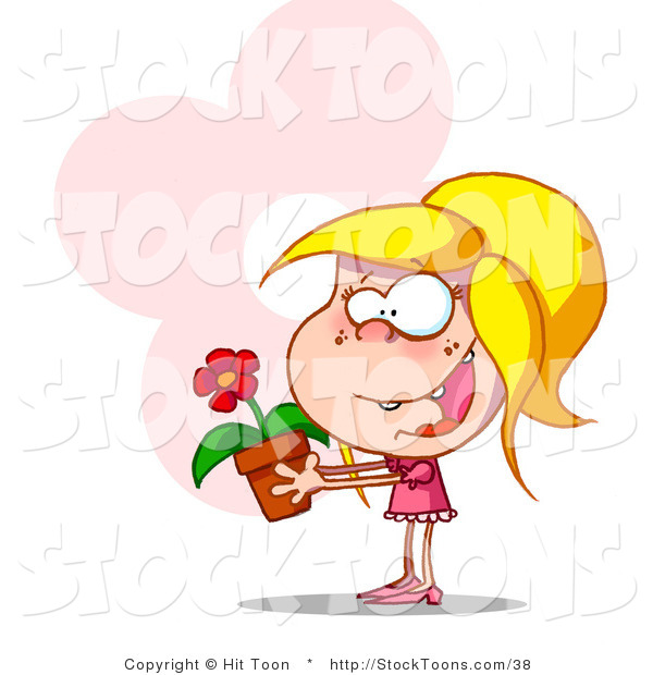 Stock Cartoon of a Happy Blond Girl in Pink