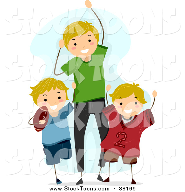 Stock Cartoon of a Happy Blond White Dad and Sons Cheering for a Football Game