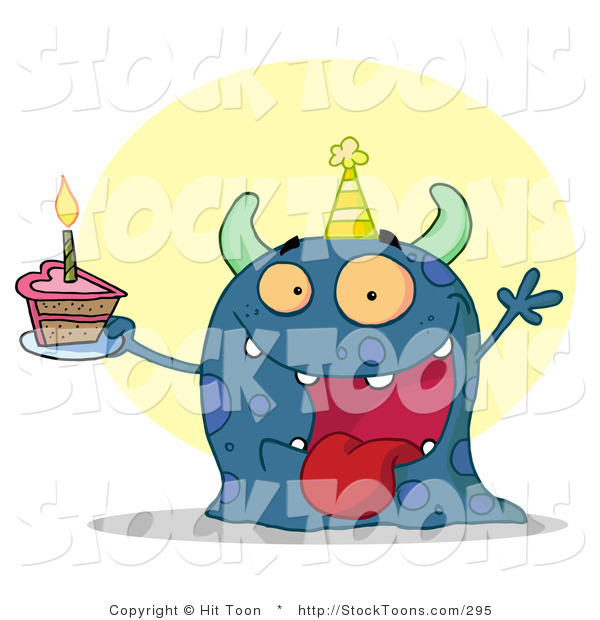 Stock Cartoon of a Happy Blue Birthday Monster