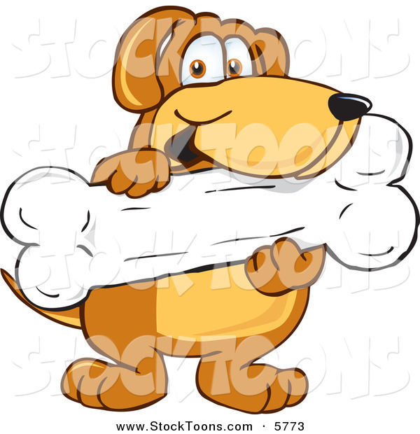 Stock Cartoon of a Happy Brown Dog Mascot Cartoon Character Holding a Big Doggy Bone Treat