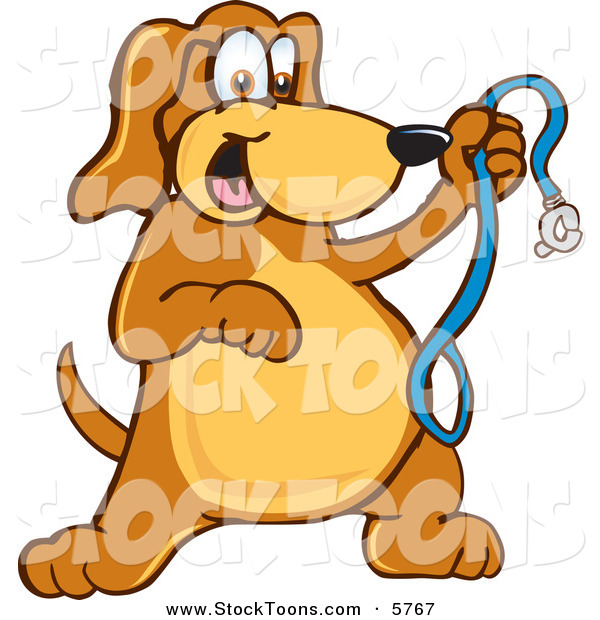 Stock Cartoon of a Happy Brown Dog Mascot Cartoon Character Holding a Leash, Ready for a Walk