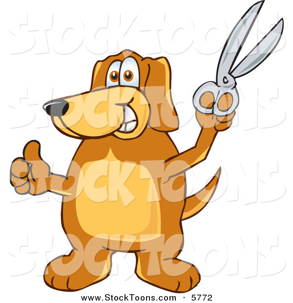 Stock Cartoon of a Happy Brown Dog Mascot Cartoon Character Holding a Pair of Scissors
