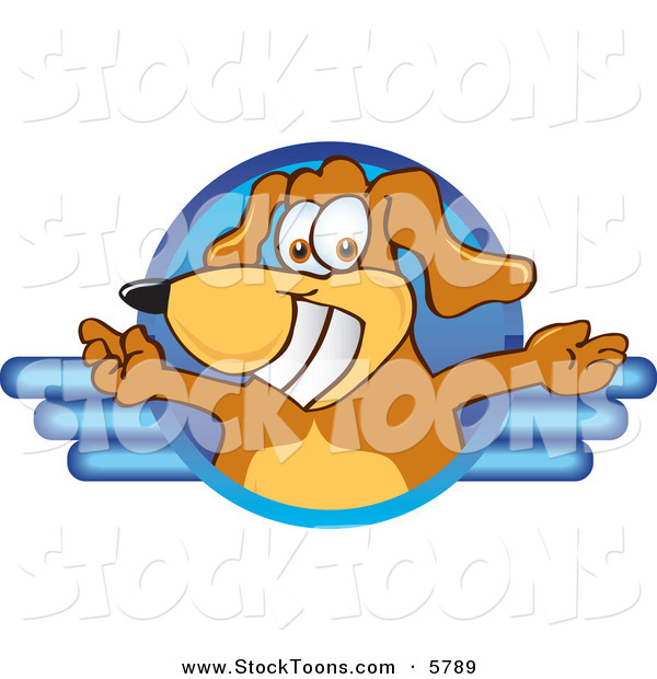 Stock Cartoon of a Happy Brown Dog Mascot Cartoon Character Logo with Open Arms