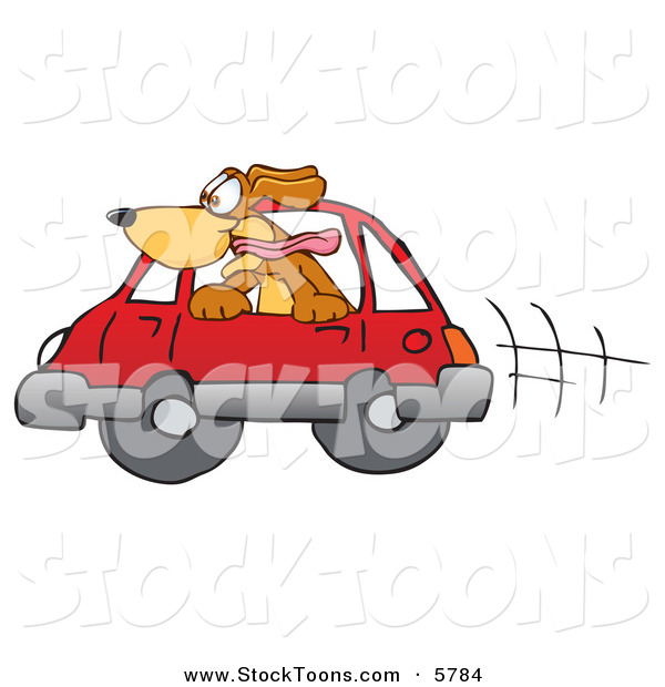 Stock Cartoon of a Happy Brown Dog Mascot Cartoon Character Sticking His Head out of a Car Window