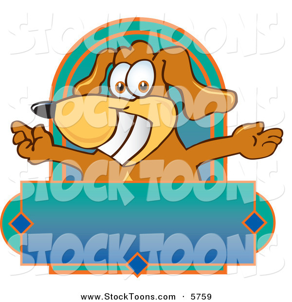 Stock Cartoon of a Happy Brown Dog Mascot Cartoon Character with Open Arms Above a Blank Label
