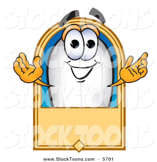 Stock Cartoon of a Happy Caucasian Blimp Mascot Cartoon Character with a Blank Label