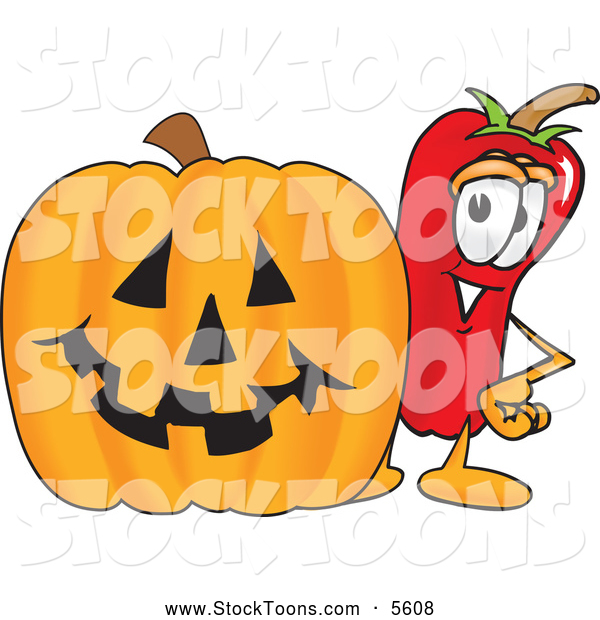 Stock Cartoon of a Happy Chili Pepper Mascot Cartoon Character Standing with a Carved Halloween Pumpkin
