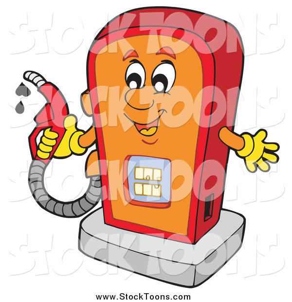 Stock Cartoon of a Happy Gas Pump Character Holding a Nozzle