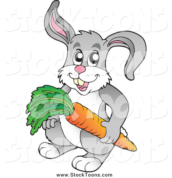 Stock Cartoon of a Happy Gray Rabbit Holdinng a Carrot