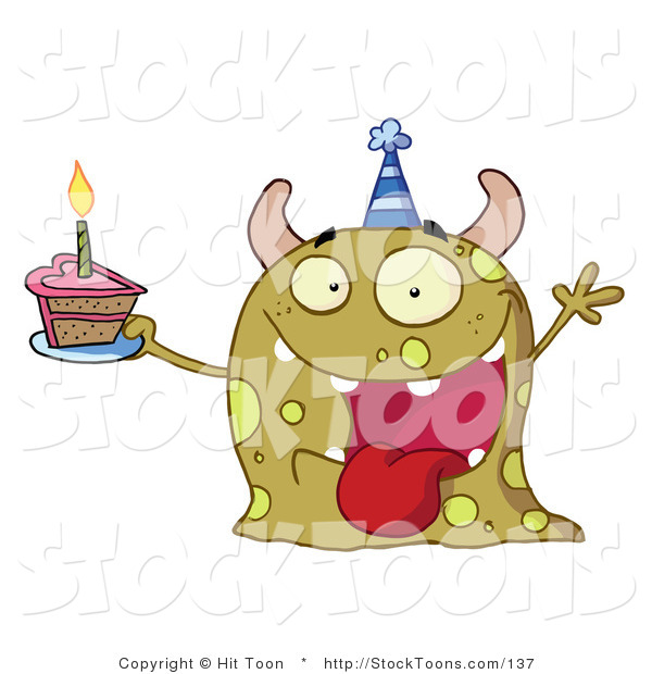 Stock Cartoon of a Happy Green Birthday Monster