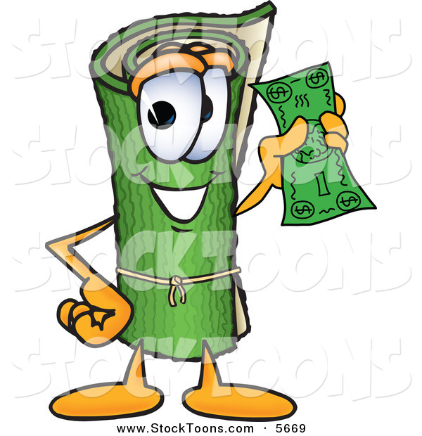 Stock Cartoon of a Happy Green Carpet Mascot Cartoon Character Holding a Dollar Bill