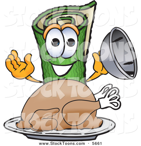 Stock Cartoon of a Happy Green Carpet Mascot Cartoon Character with a Thanksgiving Turkey on a Platter