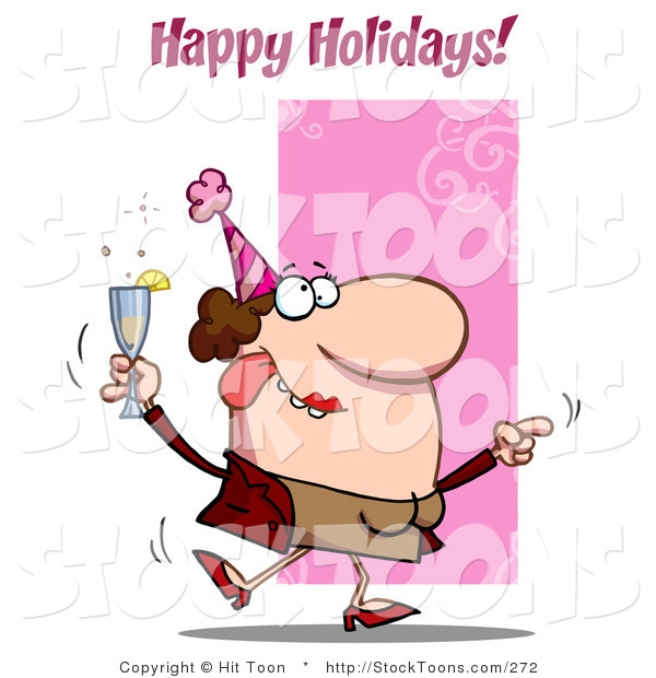 Stock Cartoon of a Happy Holidays Greeting