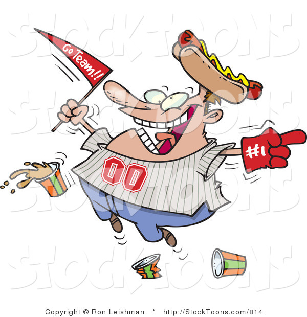 Stock Cartoon of a Happy Male Baseball Fan with a Hot Dog Hat