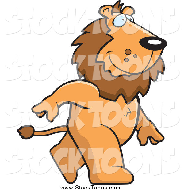Stock Cartoon of a Happy Male Lion Walking to the Right