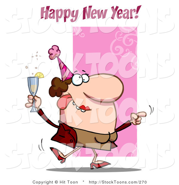 Stock Cartoon of a Happy New Year Greeting
