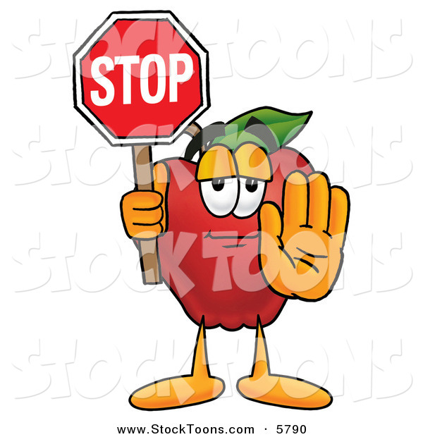 Stock Cartoon of a Happy Red Apple Character Mascot Holding a Red Stop Sign