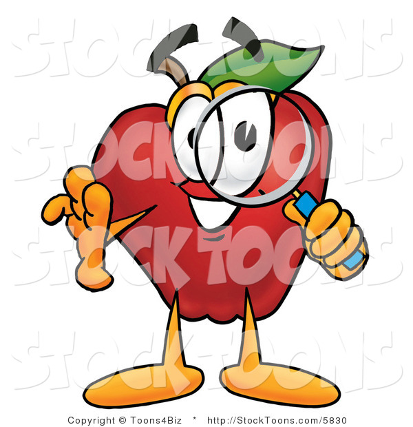 Stock Cartoon of a Happy Red Apple Character Mascot Peeking Through a Magnifying Glass