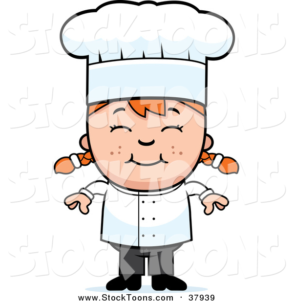 Stock Cartoon of a Happy Red Haired White Chef Girl Smiling