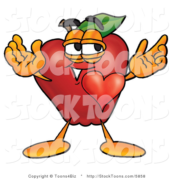 Stock Cartoon of a Happy Romantic Red Apple Character Mascot with His Heart Beating out of His Chest and Eyebrows Raised