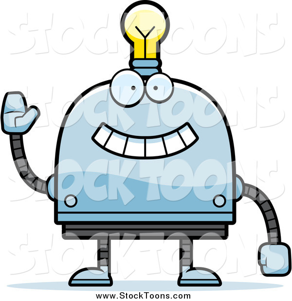 Stock Cartoon of a Happy Waving Light Bulb Headed Robot
