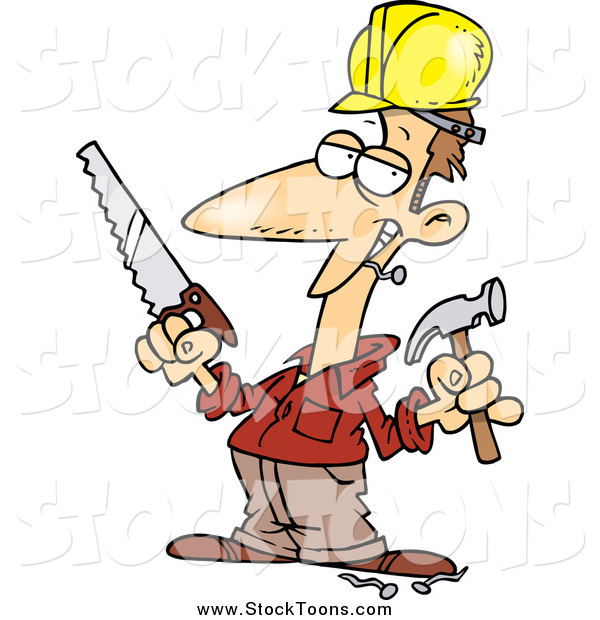 Stock Cartoon of a Happy White Male Construction Worker Holding a Hammer and Saw
