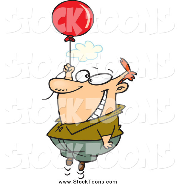 Stock Cartoon of a Happy White Man Floating with a Balloon