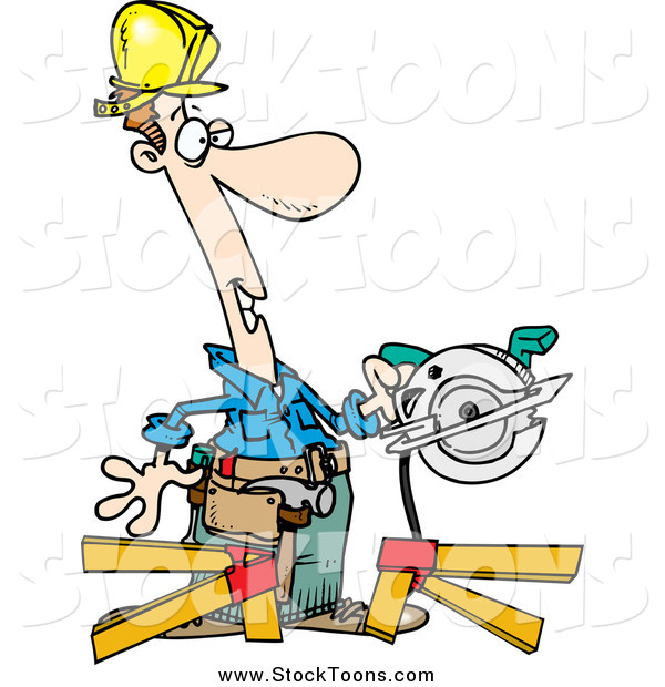 Stock Cartoon of a Happy White Repair Man Using a Circular Saw