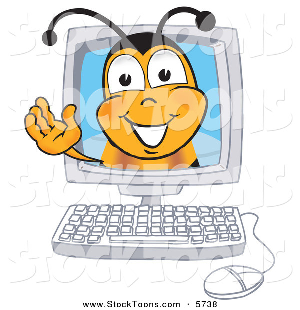 Stock Cartoon of a Honey Bee Mascot Cartoon Character in a Computer Monitor, Waving