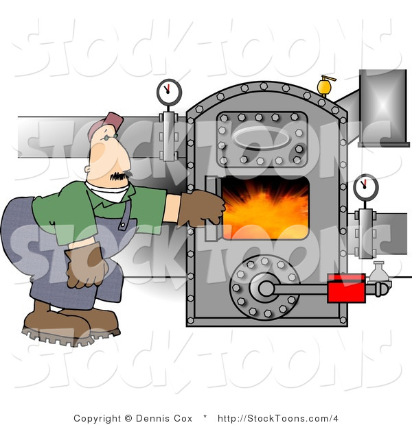 Stock Cartoon of a Hot Boiler Worker Checking a Valve