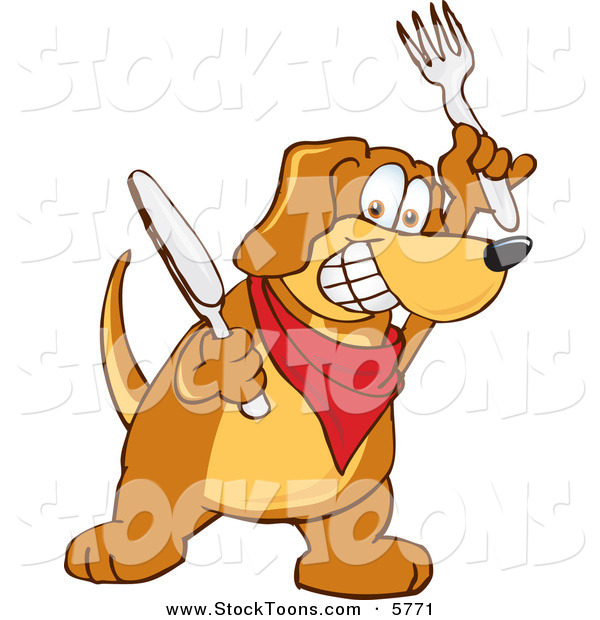 Stock Cartoon of a Hungry and Happy Brown Dog Mascot Cartoon Character Holding a Knife and Fork, Extremely Hungry