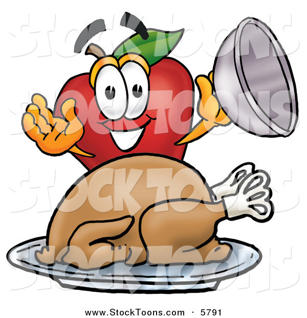 Stock Cartoon of a Hungry and Smiling Red Apple Character Mascot with a Cooked Thanksgiving Turkey on a Platter