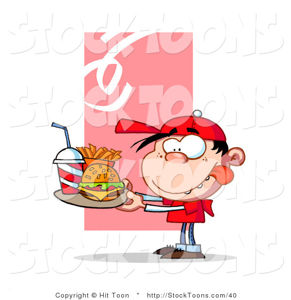 Stock Cartoon of a Hungry Boy in Red, Licking His Lips