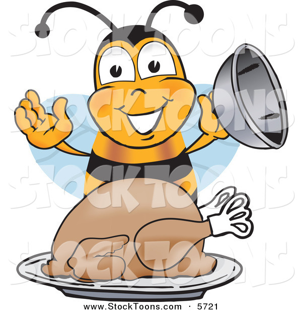 Stock Cartoon of a Hungry Bumblebee Mascot Cartoon Character Holding the Lid to a Platter with a Thanksgiving Turkey on It