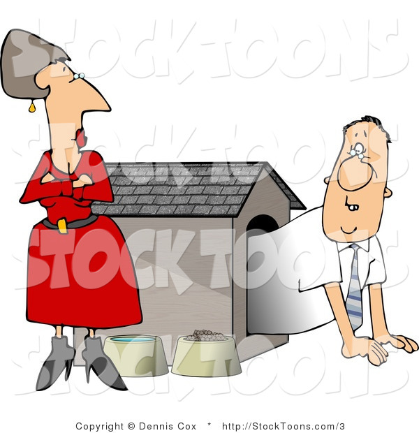Stock Cartoon of a Husband Emerging from a Dog House by His Mad Wife