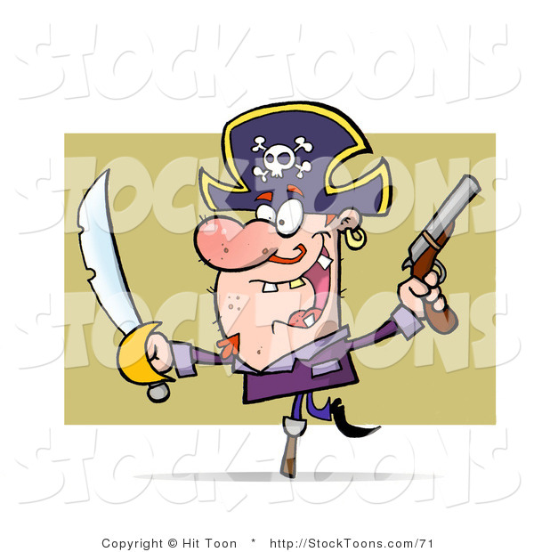 Stock Cartoon of a Hyper Peg Legged Pirate