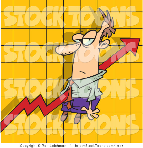 Stock Cartoon of a Increase Arrow on a Graph Chart
